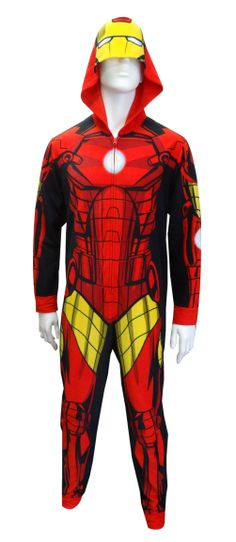 Hooded Marvel Comics Iron Man Onesie Pajama Looking to express your super powers? These onesie pajamas for men and women are designed to look like the Iron Man suit in all its glory. The pajamas are micro polar fleece with a design on the front and back. Pull up the hood to complete the look with the mask! These one piece unisex pajamas have ribbed cuffs at the wrist and ankles. Machine washable and easy care.