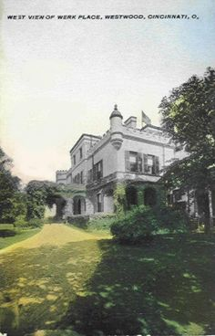Postcard of Werk Castle on the corner of Harrison Ave. and Werk Road in the Westwood neighborhood of Cincinnati, Ohio. Built in 1897, it was also called Werk Place, and Werk Manor. It was built by Eugenie M. Werk the spinster daughter of Michael Werk, a pioneer Cincinnati soap and candle producer and was also known for his wine and champagne. The home was razed in 1939. Werk Place-2 (westwood).jpg (510×797)