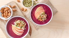 Blend up an acai bowl at home with this apple cherry twist on your favorite smoothie bowl.
