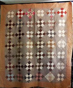 Antique Quilt Handmade Nine Patch Mid 1800s Great Old Fabrics w Novelties Brown | eBay