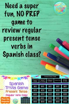 Students will love this competitive Jeopardy-style game and teachers will love that it is NO PREP and ready to go! Perfect for reviewing regular present tense verbs!