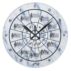 Elegant blue marble pattern circle of fifths large clock - diy cyo customize create your own personalize