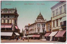 Bucuresti - Calea Victoriei cu Hotel Capsa - antebelica Bucharest Romania, Once Upon A Time, Old Photos, Taj Mahal, Dan, Tourism, Louvre, Memories, Building