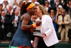 #Legends The great Arantxa Sanchez Vicario presents the Coupe Suzanne Lenglen Trophy to 2013 French Open Champion Serena Williams after her 6-4, 6-4 victory in the Singles Championship Final match v Defending Champion & World #2 Maria Sharapova at Roland Garros on June 8, 2013 in Paris, France.  Day Fourteen