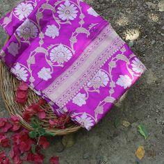 Magenta Pure Katan Silk Kadwa Banarasi Handloom Saree