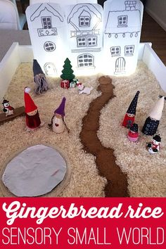 Create a fabulous small world for imaginary play with gingerbread scented rice and a light up village.