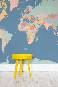 Brilliant and bright pastel colours make this a totally unique map wallpaper design. Perfect for kids' bedrooms or a quirky and colourful bedroom.