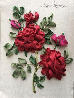 Купить Алые розы - бордовый, Вышивка лентами, розы, вышитые розы, алые розы