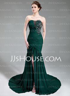 Mermaid Sweetheart Court Train Chiffon Evening Dress With Ruffle Lace Beading Sequins (017019743)