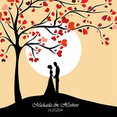 Herzbaum mit Brautpaar 50x50cm im Shop von Dankeskarte.com