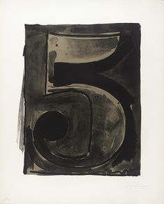 Black Numeral Series (0 - 9) / Jasper Johns / 1968 / (Ten) lithographs, each printed from one stone in black and one aluminum plate in warm gray