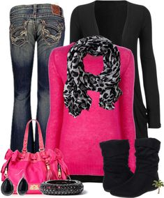 """""""Hot Pink & Black"""" love the color combination of """"Hot Pink & Black"""". Love!!!<3. This is so me!"""