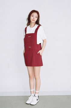 We Are Selecters · WINE STRIPED SUSPENDER DRESS by O!Oi