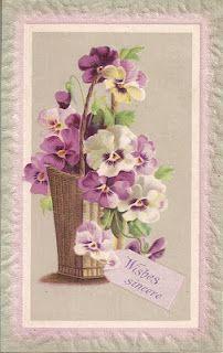 Victorian Flowers, Vintage Flowers, Victorian Art, Vintage Greeting Cards, Vintage Ephemera, Vintage Postcards, Vintage Images, Victorian Valentines, Old Cards