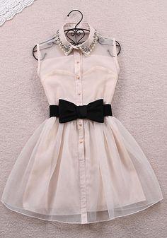 Pearl Rhinestone small lapel gauze dress