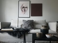 Layered Scandinavian minimalism   moody living room in shades of greige   styled by Studio In   IKEA Söderhamn sofa with a Bemz Loose Fit Urban cover in Unbleached Rosendal linen