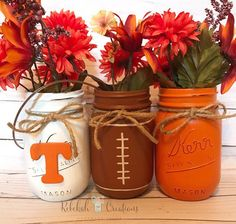 Check out our University of Tennessee selection for the very best in unique or custom, handmade pieces from our shops. Tailgate Decorations, Dorm Decorations, Mason Jar Crafts, Mason Jar Diy, University Of Tennessee, Painted Mason Jars, Thanksgiving Decorations, Fall Crafts, Tennessee Girls