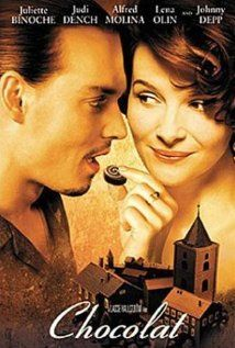 Chocolat, 2000, Juliette Binoche, Judi Dench, Alfred Molina, Johnny Depp.  Good movie.  Plenty of chocolate treats.