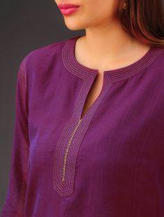Purple Chanderi Zari Stitch D Salwar Neck Designs, Churidar Designs, Neck Designs For Suits, Kurta Neck Design, Neckline Designs, Dress Neck Designs, Kurta Designs Women, Designs For Dresses, Blouse Designs