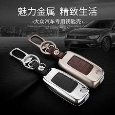 Leather Car Keychain Key Fob Case Cover For VW Sagitar Magotan Bora Tiguan Touran Passat POLO Jetta Golf  Key Rings Holder bag