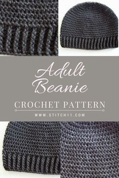 Adult Beanie for Men or Women; A perfect beanie crochet pattern for his or hers…. Adult Beanie for Men or Women; A perfect beanie crochet pattern for his or hers. This beanie fits well. Feel free to save the pattern and start crafting even on a whim! Crochet Beanie Hat Free Pattern, Mens Crochet Beanie, Crochet Blanket Patterns, Free Crochet, Hat Crochet, Crochet Hat For Men, Crochet For Beginners Blanket, Beginner Crochet, Crochet Slippers