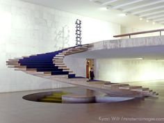 Interior staircase at Itamaraty Palace in Brasilia, home of foreign government affairs.