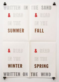 lawrence weiner, and read print, white paper with names of the seasons
