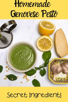 This Homemade Pesto recipe is so easy and delicious with a secret ingredient in addition to basil to keep it's vibrant green color. This healthy pesto has about half the fat of your average basil pesto! A quick sauce that's great on chicken and pasta for an easy weeknight dinner! #pesto #basil #homemade #easy #sauce Pesto Sauce, Pesto Recipe, Healthy Italian Recipes, Healthy Pesto, Food Inc, Homemade Pesto, Basil Pesto, Easy Weeknight Dinners, Dressings