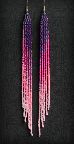 Long ombre earrings Extra long pink earrings Shoulder duster