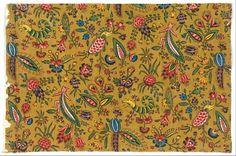 Impression au bloc avec des couleurs appliquées au pinceau sur toile de coton, vers 1792, Oberkampf & Cie. (1758-1815) Cooper–Hewitt, Smithsonian Design Museum, New York, Etats-Unis
