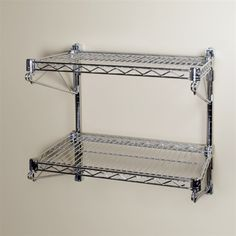 "18""d Wall Mounted Wire Shelving Kits w/ 2 Levels 