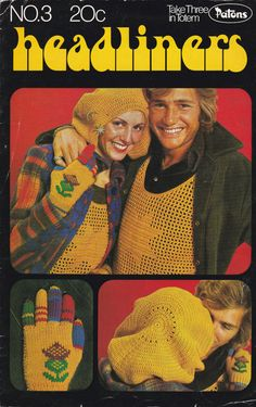 Patons - Knitting and Crochet  Vest, Gloves and Beret Pattern No 3  Vintage 1970s