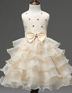 A-line+Knee-length+Flower+Girl+Dress+-+Chiffon+/+Lace+/+Stretch+Satin+Sleeveless+Jewel+with+–+AUD+$+57.19