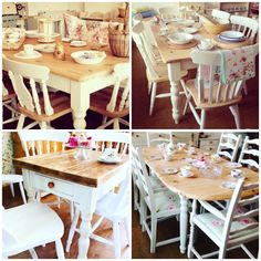 Our Shabby Chic Rustic Hand Painted Farmhouse Pine Tables And Chairs at Rosie Loves Vintage.