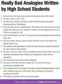 Bad analogies lolololol