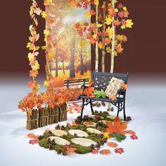 Ένα Φθινοπωρινό πάρκο, τα δέντρα και τα φύλλα στις ακτίνες του ήλιου, η φύση, οι αποχρώσες καφέ και κίτρινου, η θέα από το παγκάκι, είναι στοιχεία που συνθέτουν την απόλυτη φθινοπωρινή εικόνα! Εφοδιαστείτε με όλα αυτα τα διακοσμητικά φθινοπωρινά στοιχεία και στολίστε τη βιτρίνα και το κατάστημά σας! Autumn Park, Outdoor Furniture Sets, Outdoor Decor, Table Decorations, Home Decor, Decoration Home, Room Decor, Home Interior Design, Dinner Table Decorations