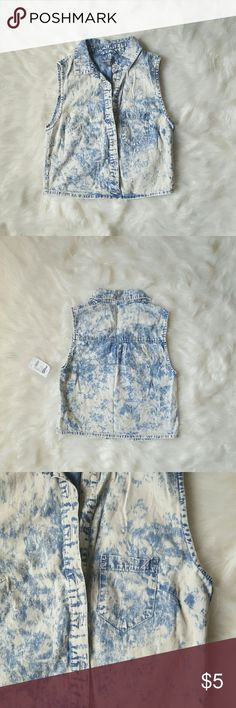 Faux Bleached Denim Vest A bleached faux denim vest complete with buttons and a front left pocket. Charlotte Russe Jackets & Coats Vests