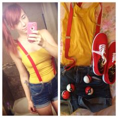 Misty costume. Halloween. Pokemon. Yellow tank top, high rise shorts, red suspenders, red sneakers.