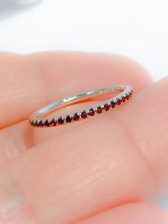 Garnet Full Eternity Band Pave Garnet Matching Eternity Ring Wedding Band Birthstone Stacking Natural Garnet Infinity Band by SARRIEL on Etsy Rose Gold Engagement Ring, Vintage Engagement Rings, Wedding Ring Bands, Vintage Rings, Halo Engagement, Eternity Ring Diamond, Eternity Bands, Diamond Rings, Infinity Band