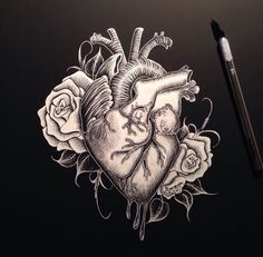 Heart and roses scratchboard. 11x16. Not for sale. 2014.