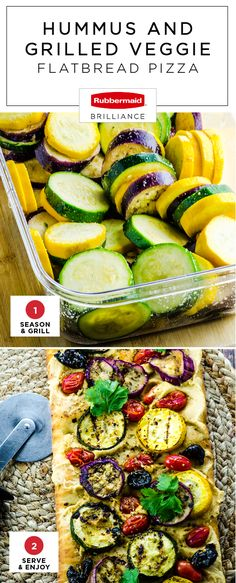 Wouldn't you agree that dinner tastes that much more delicious when the cooking process is easy-peasy?! This recipe for Hummus and Grilled Veggie Flatbread Pizza is our favorite for that reason. Using Rubbermaid BRILLIANCE™ food storage containers found at Target to marinade zucchini, yellow squash, and Japanese eggplant, this summer recipe comes together in no time and is sure to be your favorite for outdoor entertaining.