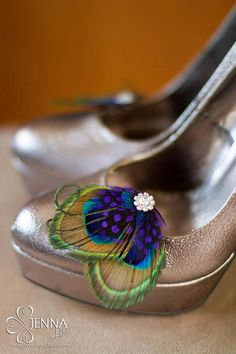 I love these shoe clips they are soo clever  Peacock shoe clips Customizable by DressMyWedding on Etsy, $28.00