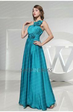 Sheath/Column One Shoulder Floor Length Elastic Woven Satin Blue Prom Dress