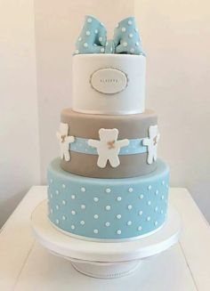 D baby shower chłopiec, ozdoby z lukru, ideas para fiestas, baby shower dla Baby Shower Cakes For Boys, Baby Boy Cakes, Christening Cake Boy, Teddy Bear Cakes, Fondant Baby, Occasion Cakes, Wedding Cupcakes, Love Cake, Celebration Cakes