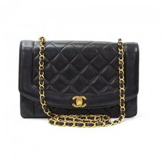 5a283fe0da41 Authentic Chanel Diana bag in black quilted leather. Flap top secured with  CC twist lock
