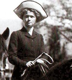 This photograph shows on horseback the Grand Duchess Olga Nicolaevna Romanova, eldest of the five children of Tsar Nicholas II and Empress Alexandra.