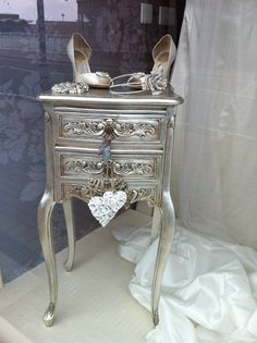 Would LOVE this style of furniture for a little girl room - simple - paint with metallic paint and apply antiquing rub in cracks.