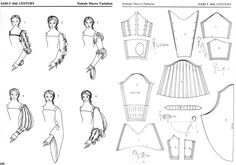 ideas for history fashion renaissance sleeve Mode Renaissance, Renaissance Clothing, Renaissance Fashion, Costume Patterns, Doll Clothes Patterns, Clothing Patterns, Sewing Patterns, Historical Costume, Historical Clothing