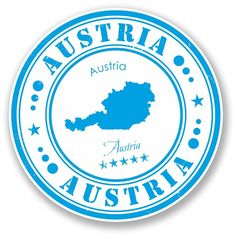 2 x Austria Vinyl Sticker Tumblr Stickers, Cool Stickers, Compass Drawing, Travel Stamp, Postage Stamp Art, Passport Stamps, Travel Icon, Aesthetic Stickers, Instagram Highlight Icons