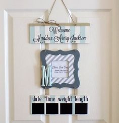 Welcome Baby Boy Light Blue & Gray Hospital Door by OliveYewToo